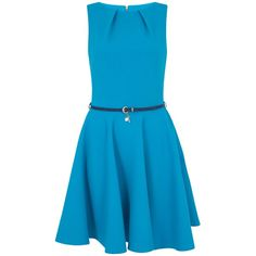 Closet Belted Skater Dress, Turquoise (735 ZAR) ❤ liked on Polyvore featuring dresses, blue, robe, sleeve maxi dress, mini dress, blue mini dress, midi dress and maxi dress