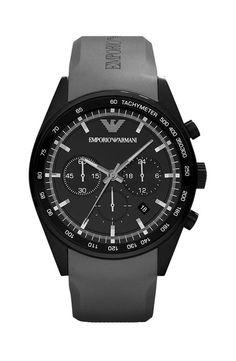 Emporio Armani AR5978 Gents Black Ion Plated Grey Rubber