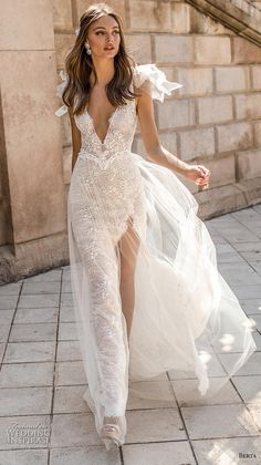 "berta fall 2019 muse bridal cap sleeves deep v neck full embellishment slit skirt glitzy glamorous elegant sheath wedding dress backless sweep train mv & MUSE by Berta 2019 ""Barcelona"" Wedding Dresses & Wedding Inspirasi Gorgeous Wedding Dress, New Wedding Dresses, Bridal Dresses, Bridesmaid Dresses, Glamorous Wedding Dresses, Prom Dresses, Bohemian Bridesmaid, Slit Wedding Dress, Celebrity Wedding Dresses"