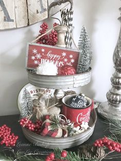 Christmas Tiered Tray Christmas Tiered Tray ,Etagere Related posts:How to Make Paper Hearts From Old Book Pages - Fabulessly Frugal - Diy artbuilding a handmade hideaway : the deck - Building stairsWohnkultur Ideen für. Noel Christmas, Christmas Balls, Christmas Wreaths, Christmas Ideas, Homemade Christmas, Christmas Presents, Christmas Cookies, Christmas Crafts, Vintage Christmas