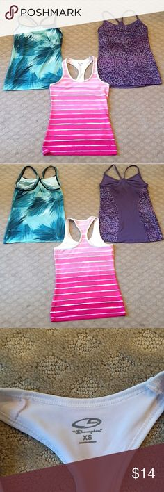 Just in! Athletic tank bundle Athletic tank bundle, all XS, Champion brand, and polyester spandex (stretchy) blend. 1. Blue and white brush pattern with double spaghetti straps in racerback style & shelf bra. EUC. 2. Purple dot pattern with spaghetti straps in racerback style. Also has a shelf bra and mesh backing. Measurements same as #1 (pics 4&5). EUC. 3. Pink and white striped pattern with wide racerback straps, no shelf bra. Good used condition due to slight underarm discoloration but…
