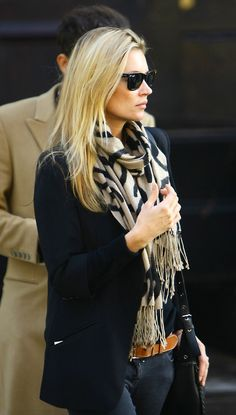 Black blazer & Tan and black scarf. Love the color combo.
