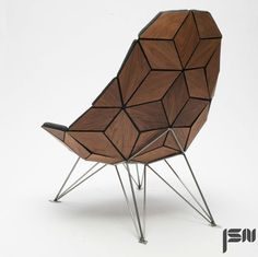 danish furniture designer jonas søndergaard nielsen has produced the tile chair through an assemblage of diamond-shaped pieces.