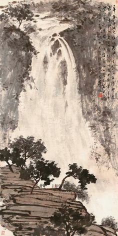 Asian Landscape, Chinese Landscape Painting, Landscape Art, Landscape Paintings, Japan Painting, China Painting, Japanese Drawings, Japanese Art, Waterfall Paintings