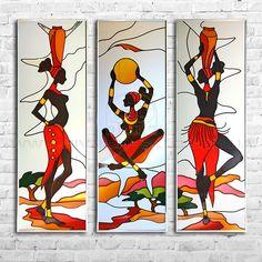 Витражные картины и зеркала – Вітражі від Півнич Скло African Drawings, African Art Paintings, Art Pop, Afrique Art, Glass Painting Designs, Indian Folk Art, African American Art, Mural Art, Tribal Art