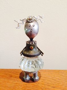 Robot robot sculpture found object art found by LovableLeftovers