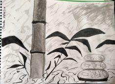 1 dibujo libre con algunas técnicas  a la tinta china expandida con agua.
