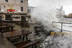 The Still and West pub, Spice Island, Old Portsmouth (uk). During the January storms 2014