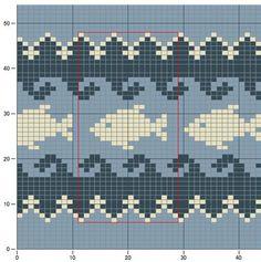 Fair Isle Knitting Patterns, Fair Isle Pattern, Knitting Charts, Knitting Stitches, Baby Knitting, Cross Stitch Sea, Cross Stitch Animals, Cross Stitch Patterns, Crochet Fish
