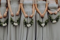Bridesmaids In Gray Dresses Holding Diy Green and White Hoop Bouquets Wedding For Under With Diy Wedding Decor, Hoop Bouquets And Garlands. In addition Prosecco Bar and Photo Booth By Louise Griffin Photography Wedding Bridesmaid Bouquets, Diy Wedding Bouquet, White Wedding Bouquets, Diy Wedding Flowers, Diy Wedding Decorations, Bridal Flowers, Floral Wedding, Flower Bouquets, Bridal Bouquets