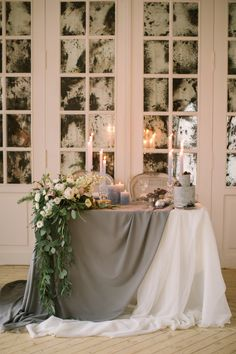 silver sage wedding elegant table with candles bloom ministry Garland Wedding, Wedding Centerpieces, Wedding Table Decorations, Sage Green Wedding, Elegant Table, Sweetheart Table, Table Arrangements, Table Flowers, Reception Table