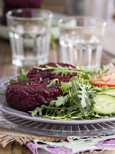 Vegan Beet Burgers  http://www.vegkitchen.com/recipes/vegan-beet-burgers/