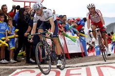 Vuelta a España'14 St.15: On the road to the Lagos de Covadonga Alberto Contador (Tinkoff-Saxo) covered every move except the last one by Alejandro Valverde (Movistar) with Joaquim Rodriguez (Katusha) on his wheel. 11 seconds, not much, but it all counts. Pic:CorVos/PezCyclingNews.