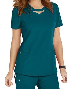 Careisma By Sofia Vergara Fearless Keyhole Scrub Tops Main Image Medical Uniforms, Work Uniforms, Stylish Scrubs, Scrubs Outfit, Cute Scrubs Uniform, Spa Uniform, Womens Scrubs, Medical Scrubs, Peeling