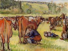 Milking Cows. Камиль Писсарро