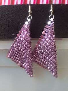Earrings - Metalic lilac chainmail mesh earrings ~ handcut chainmail ~ drop earrings ~ fashion jewellery ~ costume jewellery by Nerdacious on Etsy