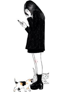 Image via We Heart It https://weheartit.com/entry/156978979/via/9025918 #alone #alternative #blackandwhite #cats #design #draw #girl #grunge #indie #life #lost #love
