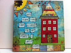 10x10 Mixed media canvas and thank you for a by heartfeltByRobin, $45.00