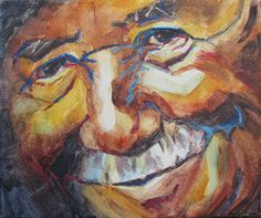 Expressionistic paintings of  faces and portraits