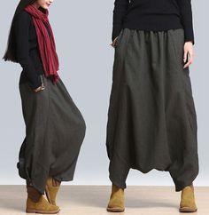 A129 Elastic Side Pockets 100% Linen Women Girl Halan Pants Dress Pants Trousers #AQ #CaprisCropped