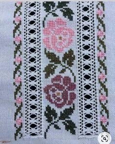 Cross Stitch Bookmarks, Cross Stitch Borders, Cross Stitch Rose, Cross Stitch Flowers, Cross Stitch Charts, Cross Stitch Designs, Cross Stitching, Cross Stitch Patterns, Hardanger Embroidery
