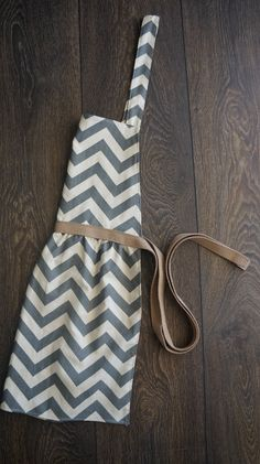 women's gray chevron patterned full apron by DesignsByRade on Etsy, $23.00