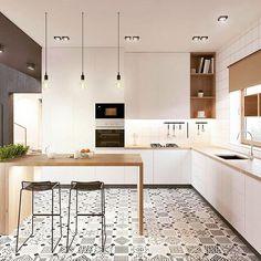 Sí - Mínimalista con encanto #jueves #love #decoracion #interiores #interiordesign #luz #light #cocina #kitchen #madera #chic #modern #suelohidraulico #picoftheday #trucosparadecorar