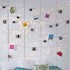 Who knew it could be so easy to transform bedroom fairy lights into a magical photo memory. Its the ideal place to pin up your favourite postcards, hang anything from polaroids to birthday cards and illuminate them at the same time.