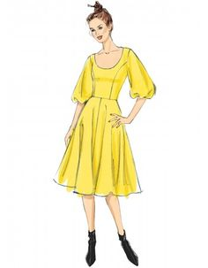 Vogue Patterns Sewing Pattern Misses' Princess-Seam, Flare Dresses with Poof Sleeves Vogue Patterns, Fit N Flare Dress, Fit And Flare, Dress Making Patterns, Fashion Design Sketches, Simplicity Patterns, Princess Seam, Princess Mary, Mode Style