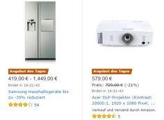 Amazon: Sieben Kühl- und Gefriergeräte von Samsung mit Rabatt https://www.discountfan.de/artikel/technik_und_haushalt/amazon-sieben-kuehl-und-gefriergeraete-von-samsung-mit-rabatt.php Für einen Tag sind heute bei Amazon sieben ausgewählte Kühl-Gefrier-Kombis von Samsung mit teils deutlichen Preisabschlägen zu haben. Die Preise liegen zwischen 419 und 1449 Euro. Amazon: Sieben Kühl- und Gefriergeräte von Samsung mit Rabatt (Bild: Amazon.de) Die Kühl- und Gefrierschr