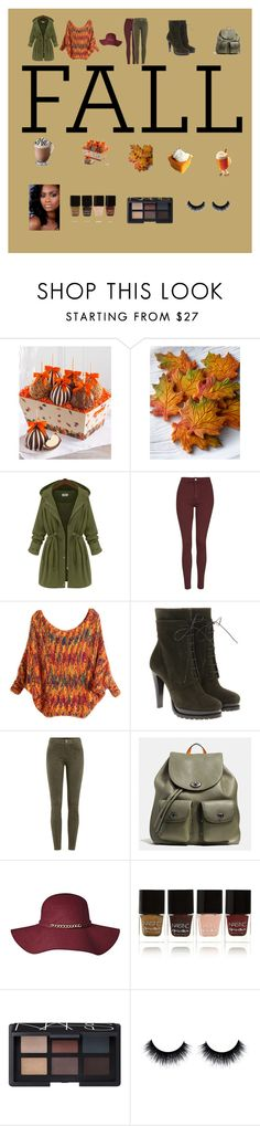 """""""A Taste of Fall"""" by prechntheword ❤ liked on Polyvore featuring beauty, Mrs. Prindable's, Topshop, Giorgio Armani, J Brand, Coach, Nails Inc. and NARS Cosmetics"""