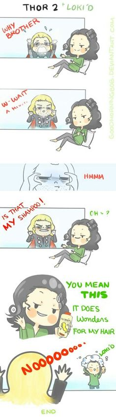 Loki and Thor. wonders for my hair. Is it just me that loves the fact that loki has curlers in his hair.<<<Oh my goodness, this is so PERFECT. Comics Spiderman, Marvel Dc Comics, Marvel Avengers, Loki God Of Mischief, Marvel Funny, Marvel Memes, Thor Y Loki, Loki Laufeyson, Tom Hiddleston Loki