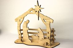 "Add meaning and value to your celebration of Christmas with this 3d nativity kit which includes 15 wooden pieces cut from 1/4"" oak and is ready for your own sta"