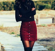 Touch of burgundy Corduroy skirt- winter outfit- day and night outfits- Bohemian touch- black and burgundy Winter Outfits For Teen Girls, Fall Winter Outfits, Autumn Winter Fashion, Winter Clothes, Winter Outfits With Skirts, Christmas Party Outfits Casual, Christmas Outfits For Women, Christmas Fashion Outfits, Christmas Day Outfit