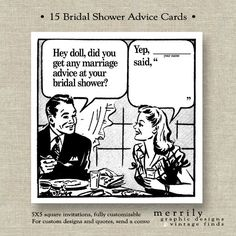 advice wedding coasters | Reserved for Ashley - Bridal Shower Advice Cards - Retro Fifties ...