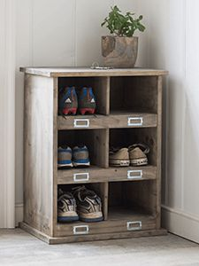 The Shoe Locker in Small, inspired by traditional school lockers, offers plenty of storage with twelve compartments. Each cubby hole has a little space for a label An ideal storage solution for the hallway, boot room or utility room. Shoe Storage Furniture, Wood Shoe Storage, Shoe Cubby, Locker Storage, Diy Locker, Storage Benches, Wire Storage, Hallway Storage, Small Storage