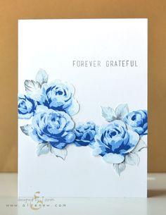Altenew Vintage Roses - Blue; multi-generation stamping