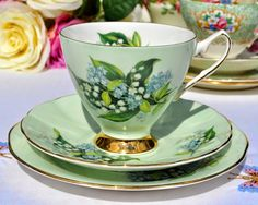 Green Lily of the Valley vintage fine bone china tea trio
