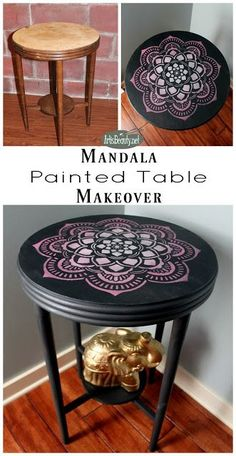 Hand painted furniture. Boho style. Mandala design.  Bohemian furniture. eclectic pink and gray modern chic golden elephant diy blogger artisbeauty