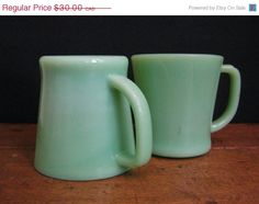 ONSALE Jadeite Mugs/Coffee Cups  - Vintage Serving - Vintage Fire King Ovenware on Etsy, $20.77