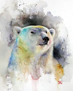 POLAR BEAR Watercolor Print by Dean Crouser por DeanCrouserArt