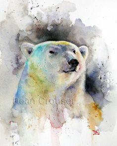 POLAR BEAR Watercolor Print by Dean Crouser por DeanCrouserArt