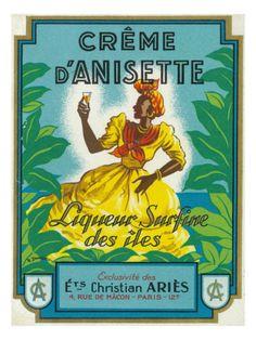 Creme d'Anisette Liqueur Surfine des iles Brand Rum Label