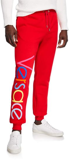 Shop Men's Multicolor Logo Sweatpants from Versace at Neiman Marcus Last Call, where you'll save as much as on designer fashions. Versace Logo, Versace Men, Gianni Versace, Versace Designer, Vintage Versace, Donatella Versace, Jogger Pants, Fashion Stylist