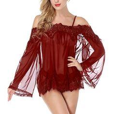NINGMI Women Lingerie Babydoll Lace Mesh Chemise Sheer Nightgown Sleepwear Dress