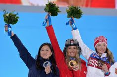 DAY 13:  (L-R) Silver medalist Tomoka Takeuchi of Japan, gold medalist Patrizia Kummer of Switzerland and bronze medalist Alena Zavarzina of Russia celebrate on the podium during the medal ceremony for the Snowboard Women's Parallel Giant Slalom http://sports.yahoo.com/olympics