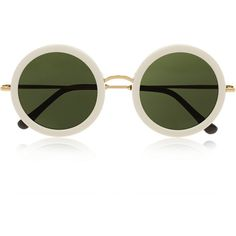 The Row Round-frame acetate and metal sunglasses (1.460 BRL) ❤ liked on Polyvore featuring accessories, eyewear, sunglasses, glasses, white, acetate sunglasses, round metal frame glasses, round acetate sunglasses, uv protection sunglasses and round frame glasses