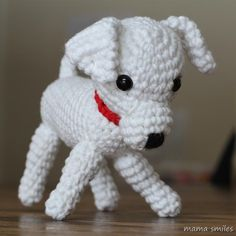 crocheted amigurumi puppy dog.