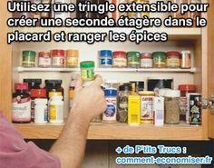 Ajouter un petit espace rangement supplémentaire ?  Utiliser une tringle extensible  :-)