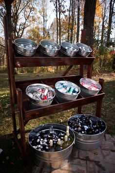 Tarabula wedding 2 the couple was able to use the venues alcohol liability insurance policy and save money by bringing in their own beer wine and champagne 25 creative outdoor wedding drink station and bar ideas Event Planning, Wedding Planning, Bottle Display, Drink Display, Festa Party, Partys, Wedding Catering, Wedding Venues, Drinks At Wedding